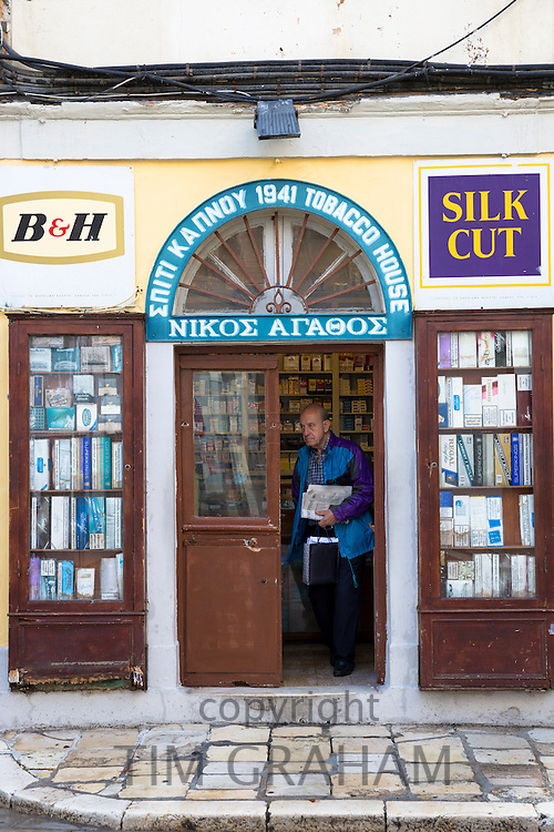 Traditional Corfiot Greek tobacconist shop selling cigarettes, cigars and tobacco in Kerkyra, Corfu Town, , Greece