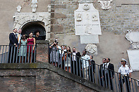 ROME, ITALY - 20 JULY 2014: (L-R) Mayor of Rome Ignazio Marino and Mayor of New York Bill De Blasio with his family pose for a press picture at the entrance of the Campidoglio (the municipal government) , in Rome, Italy, on July 20th 2014. On the right are the staffs of both mayors.<br /> <br /> New York City Mayor Bill de Blasio arrived in Italy with his family Sunday morning for an 8-day summer vacation that includes meetings with government officials and sightseeing in his ancestral homeland.