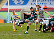 Leicester Tigers scrum-half Richard Wigglesworth makes a clearance kick during a Gallagher Premiership Round 10 Rugby Union match, Friday, Feb. 20, 2021, in Leicester, United Kingdom. (Steve Flynn/Image of Sport)