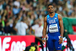 London, 2017 August 07. Isiah Young, USA, in the men's 200m heats on day four of the IAAF London 2017 world Championships at the London Stadium. © Paul Davey.