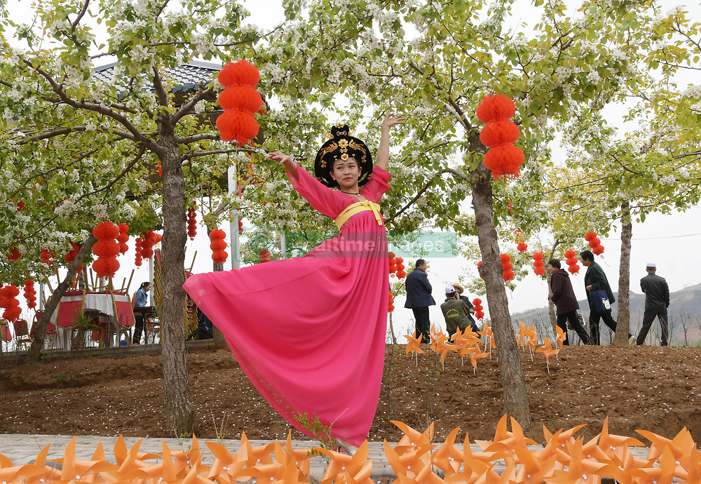 April 25, 2018 - Gansu, Gansu, China - Gansu, CHINA-25th April 2018: The Pear Flower Festival is held in Hezheng County, northwest China's Gansu Province, attracting many tourists to enjoy the blooming flowers. (Credit Image: © SIPA Asia via ZUMA Wire)