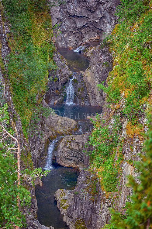 Small waterfall at the remote river Leirdøla in Leirdalen, Luster (Vestland county), Norway.