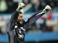 Photo: Lee Earle.<br /> Portsmouth v Manchester United. The Barclays Premiership. 07/04/2007.Portsmouth keeper David James celebrates after their second goal.