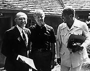 Israeli Prime Minister Menachem Begin (1913 - 1992 )Jimmy Carter, President of the United States Anwar Sadat (1918 - 1981), President of Egypt met for talks at Camp David 1978