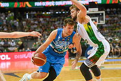 Luka Doncic of Slovenia vs Domantas Sabonis of Lithuania during the 2020 FIBA Men's Olympic Qualifying Tournament final game between Lithuania and Slovenia on July 4, 2021 in Zalgiris Arena, Kaunas, Lithuania. Photo by Fotodiena / Sportida