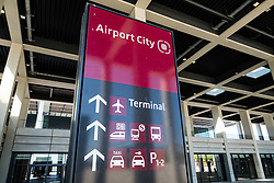 View of sign at Airport City at  Berlin Brandenburg Willy Brandt Airport Terminal uncompleted and 7 years behind schedule in Berlin Germany