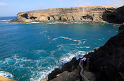 Headland with caves being eroded by waves, Ajuy, Fuerteventura, Canary Islands, Spain