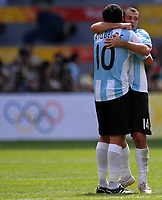 Argentina's Juan Riquelme and Javier Mascherano celebrate at the end of the Olympic Games final Argentina beats Nigeria 1-0 and won the gold medal <br /> National Indoor - Bird Nest - Football - Calcio<br /> Pechino - Beijing 23/8/2008 Olimpiadi 2008 Olympic Games<br /> Foto Andrea Staccioli Insidefoto