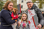 Rudy a Dacshund and family - A charity Halloween Dog Walk and Fancy Dress Show organised by All Dogs Matter at the Spaniards Inn, Hampstead. London 29 Oct 2017.