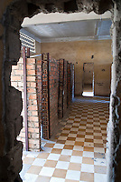 School rooms divided into crude cells in Building C at Tuol Sleng Genocide Museum, Phnom Penh, Cambodia