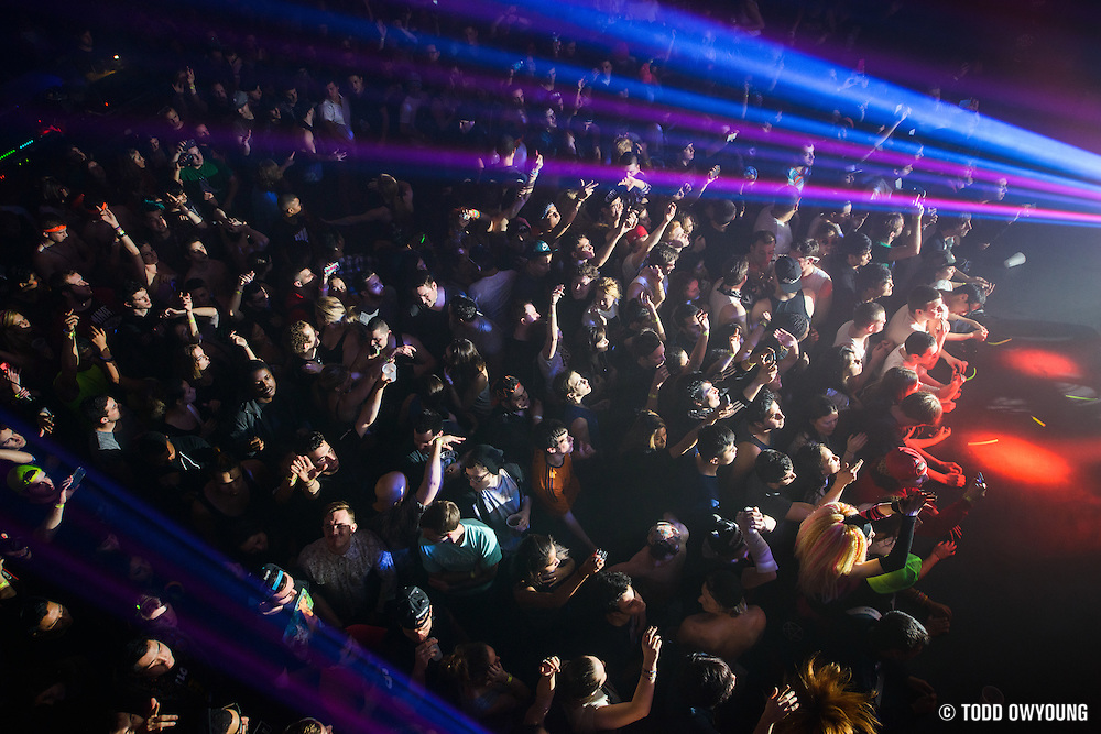 Fans at the Music Hall of Williamsburg in Brooklyn, New York during Skrillex's sold out performance on February 11, 2014.