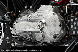 """""""Board to Death"""", Chris Callen's board tracker Ironhead Sportster. Photographed by Michael Lichter in Sturgis, SD on August 3, 2016. ©2016 Michael Lichter."""