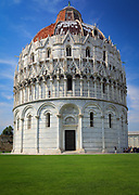 The Baptistry of St. John in Pisa, Italy, is a few hundred yards from the famous Leaning Tower