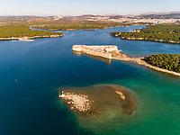 Aerial view of St. Nicholas Fortress guarding the bay of Sibenik, Croatia.
