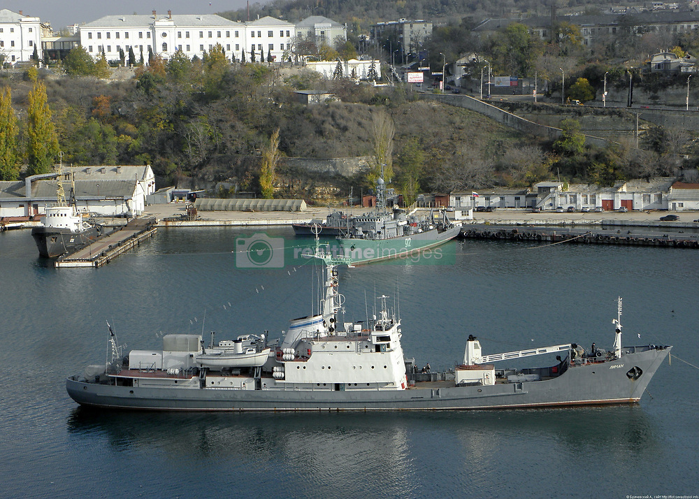 April 27, 2017 - Russia - April 27, 2017. - A Russian Navy reconnaissance ship 'Liman' has sunk after colliding with another vessel near the Bosporus. The hull of the 'Liman', a 1,560-ton reconnaissance ship of the Russian Black Sea Fleet, was breached below the waterline in the collision. All crew members of 'Liman' are alive and well and are currently preparing for evacuation from the Turkish rescue ship to a Russian ship. In picture: Russian Navy reconnaissance ship 'Liman'. Photo: A. Brichevsky/kchf.ru (Credit Image: © Russian Look via ZUMA Wire)