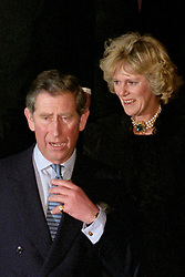 The Prince of Wales and Camilla Parker Bowles step out in public together for the first time, following  a 50th birthday dinner-dance for Mrs Parker Bowles' sister, Annabel Elliott, at the Ritz hotel in central London .