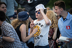 © Licensed to London News Pictures . 05/06/2015 . Manchester , UK . Stone Roses fan in the crowd . Evening concerts featuring headliners , The Courteeners , playing a homecoming gig , at Heaton Park in Manchester in front of 25,000 people , the evening before the Parklife music festival . Photo credit : Joel Goodman/LNP