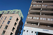 Newly-built flats next to old housing on Thurlow Street, on 28th November 2016, in the south London borough of Southwark, England.