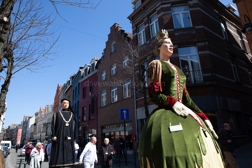 Dona Brabantia - Geants du quartier Bruegel, Brussels. Parade of giants on Rue Haute, Brussels