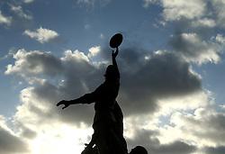 The iconic bronze statue depicting a line out outside Twickenham Stadium before the Autumn International at Twickenham Stadium, London.