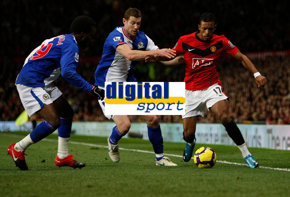 Photo: Steve Bond/Richard Lane Photography. Manchester United v Blackburn Rovers. Barclays Premiership 2009/10. 31/10/2009. Nani (R) on the touchline as Pascal Chimbonda (L) and Brett Emerton (C) close in