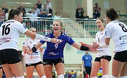 October 21, 2017 - Rzeszow, Poland - Klaudia Kaczorowska (Developres), Agata Sawicka (Developres), Helene Rousseaux (Developres), Anna Kaczmar (Developres), radosc,  in action during CEV Volleyballl Champions League volleybal women match between Developres Rzeszow and Hapoel Kfar Saba on 21 October 2017 in Rzeszow, Poland. (Credit Image: © Foto Olimpik/NurPhoto via ZUMA Press)