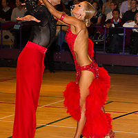 Duarte Sousa and Elisabete Pera from Portugal perform their dance during the latin-american senior competition of the International Championships held in Brentwood Leasure Centre, Brentwood, United Kingdom. Tuesday, 11. October 2011. ATTILA VOLGYI