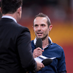 BRISBANE, AUSTRALIA - OCTOBER 13: Former Brisbane Roar player Massimo Murdocca gives an interview during the Round 2 Hyundai A-League match between Brisbane Roar and Adelaide United on October 13, 2017 in Brisbane, Australia. (Photo by Patrick Kearney)