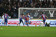 Scott Dann of Crystal Palace © celebrates after he scores his teams 1st goal to make it 1-1. Barclays Premier league match, Swansea city v Crystal Palace at the Liberty Stadium in Swansea, South Wales on Saturday 6th February 2016.<br /> pic by Andrew Orchard, Andrew Orchard sports photography.