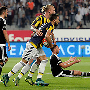Fenerbahce's Mehmet Topal (C) during their Turkish Super League soccer derby match Besiktas between Fenerbahce at the Ataturk Olimpiyat stadium in Istanbul Turkey on Sunday, 27 September 2015. Photo by Kurtulus YILMAZ/TURKPIX