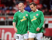 Fotball<br /> Tyskland<br /> Foto: Witters/Digitalsport<br /> NORWAY ONLY<br /> <br /> 16.01.2010<br /> <br /> v.l. Miroslav Karhan, Nikolce Noveski Mainz<br /> Bundesliga Bayer 04 Leverkusen - FSV Mainz 05 4:2