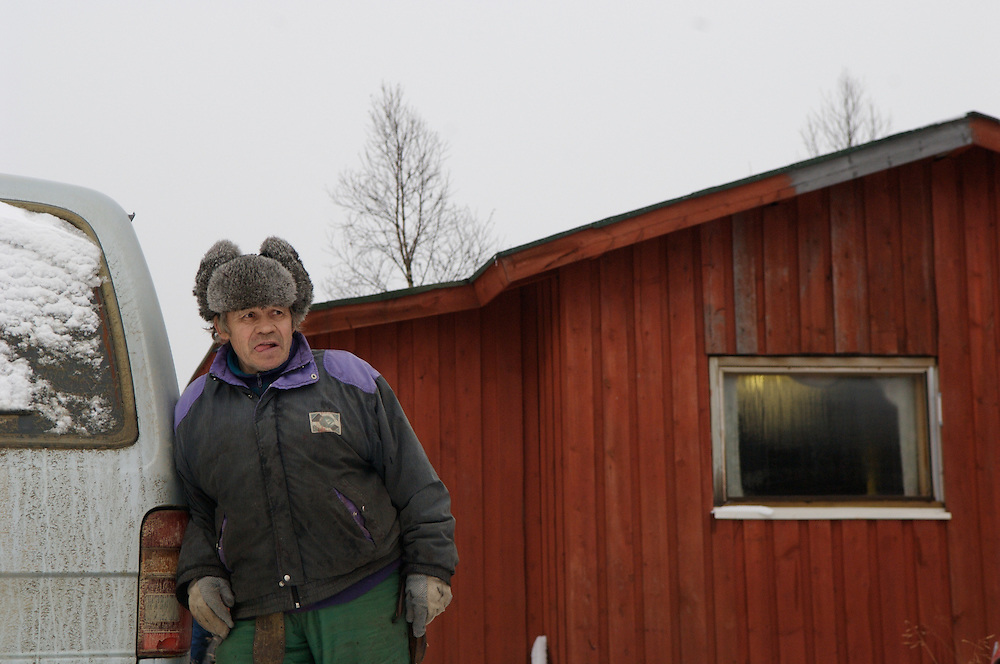 Hirvas Salmi, FINLAND. October 14, 2007- Reino, 74, stands outside his cabin.  His family have been reindeer herders for hundreds of years.