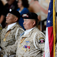 012714  Adron Gardner/Independent<br /> <br /> The Tohatchi Veterans Group color guard stands at attention during the commencement of the Navajo Nation Tribal Council winter session in Window Rock Monday.