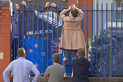 ©Licensed to London News Pictures 29/09/2020  <br /> Croydon, UK. Colleagues hang flags in memory of Sgt Matt Ratana at Croydon Custody Centre. The murder investigation continues after the death of police sergeant Matt Ratana at the Croydon Custody Centre in South London last week. Photo credit:Grant Falvey/LNP