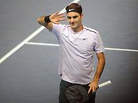Tennis - 2017 Nitto ATP Finals  at The 02 - Day One, Sunday<br /> Roger Federer v Jack Sock<br /> <br /> Roger Federer  (Sui) celebrates after winning in two straight sets<br /> <br /> COLORSPORT/ANDREW COWIE