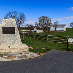 A granite monument recognizes Clara Barton's service during the Battle of Antietam.