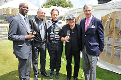 Left to right, EDWIN MOSES, RON DENNIS, the EARL OF MARCH & KINRARA, singer BRIAN JOHNSON and ARNAUD BAMBERGER at a luncheon hosted by Cartier for their sponsorship of the Style et Luxe part of the Goodwood Festival of Speed at Goodwood House, West Sussex on 1st July 2012.
