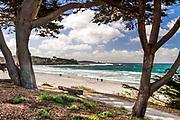 Carmel Beach, Carmel-by-the-Sea, California, looking toward Point Lobos.