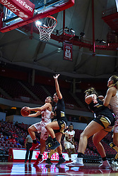 NORMAL, IL - October 30: Paige Saylor gets up a lay up past Kate Ruzevich during a college women's basketball game between the ISU Redbirds and the Lions on October 30 2019 at Redbird Arena in Normal, IL. (Photo by Alan Look)