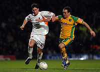 Photo: Ashley Pickering.<br /> Norwich City v Blackpool. The FA Cup. 13/02/2007.<br /> Shaun Barker of Blackpool (L) and Lee Croft of Norwich