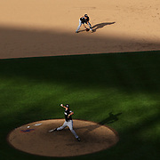 Pitcher Kevin Slowey, Miami Marlins, pitching in the late afternoon sunlight during the New York Mets V Miami Marlins, Major League Baseball game which went for 20 innings and lasted 6 hours and 25 minutes. The Marlins won the match 2-1. Citi Field, Queens, New York. 8th June 2013. Photo Tim Clayton