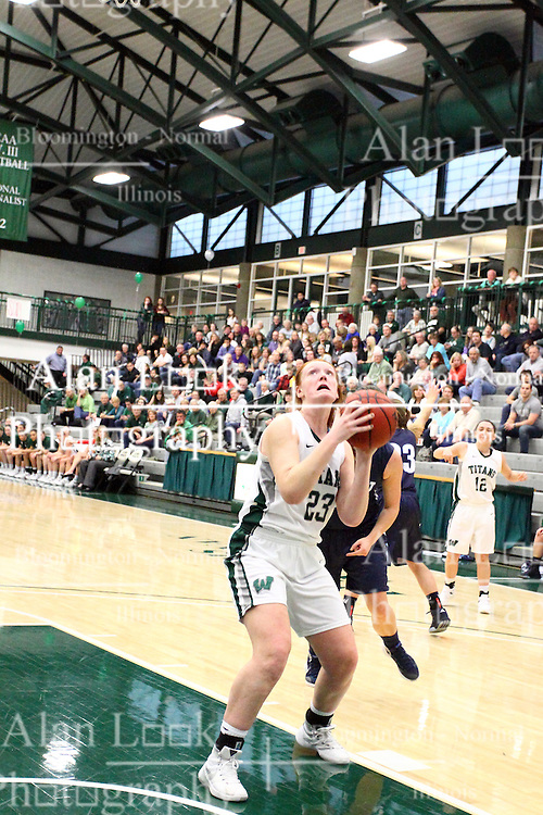 20 February 2016:  Maddie Merritt during an NCAA women's basketball game between the Elmhurst Bluejays and the Illinois Wesleyan Titans in Shirk Center, Bloomington IL