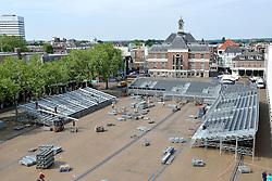 20150617 NED: WK Beachvolleybal speelstad, Apeldoorn<br /> De bouw van het beachstadion in Apeldoorn is gestart. Van 26 juni tot 2 juli wordt op het Marktplein het WK Beachvolleybal gehouden