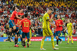 June 10, 2019 - Madrid, SPAIN - 190610 Mikel Oyarzabal of Spain celebrate with teammates after 3-0 while Mikael Lustig of Sweden looks dejectedduring the UEFA Euro Qualifier football match between Spain and Sweden on June 10, 2019 in Madrid  (Credit Image: © Andreas L Eriksson/Bildbyran via ZUMA Press)