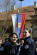 """SERB MEMBERS OF KPS SUSPENDED FOR UNDETERMINED PERIOD<br /> <br /> Gjilan, Graçanica, Kosovo<br /> Friday, February 29, 2008<br /> <br /> With the order of the Police MHQ in Pristina, on Friday, police members from the lines of Serb community from Gjilan region (eastern Kosovo) have been suspended; they don't recognize Albanian KPS (Kosovo Police Service) members order.<br /> Today also in Graçanica, a village populated with Serbs around 12 km far away from Pristina, KPS HQ (Kosovo police Service Headquarter) get information that than a group of Local Serbs members of KPS from Northern Police station, are attending to took under control Graçanica police station, as result to create another KPS institution only with Serbs and under control and role of law which came from Belgrade.<br /> Around more than 70 Serbs KPS members in Graçanica in charge of them chef Commander Stojan MILLOSHEVIÇ, all day of this Friday they decide to stay outside of police station in Graçanica, as them unhappiness expression against Kosovo Independence proclaimed on 17th February 2008.<br /> According to KPS HQ spokesman Agron BOROVCI,"""" KPS Serbs members can return to them positions of work, deadline is Saturday, March 1, 2008 until 12.00/pm, if they will not return back and recognize orders which came from HQ, they will be reject from KPS (Kosovo Police Service) says Borovci.<br /> Friday's situation in Graçanica has been monitored from many KFOR members and many civilian officers from Serbia, also for this situation most of citizens from Graçanica didn't care at all for this situation which came as result of Serbs KPS members.<br /> PICTURED: Two of other 70 Serbs KPS members are standing in front of them Nationa Serbian flag."""