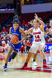 NORMAL, IL - January 03: Del'Janae Williams works to get past Paige Saylor during a college women's basketball game between the ISU Redbirds and the Sycamores of Indiana State January 03 2020 at Redbird Arena in Normal, IL. (Photo by Alan Look)
