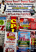Posters for Hip Hop and Communism vie for attention on 28th February 2018 in Kochi, Kerala, India.
