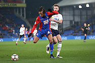Loic Remy of Crystal Palace is  challenged by Mark Beevers of Bolton Wanderers. Emirates FA Cup 3rd round replay match, Crystal Palace v Bolton Wanderers at Selhurst Park in London on Tuesday 17th January 2017.<br /> pic by John Patrick Fletcher, Andrew Orchard sports photography.