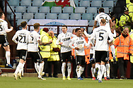 The Swansea City players  celebrate the hird goal 0-3 during the The FA Cup 3rd round match between Aston Villa and Swansea City at Villa Park, Birmingham, England on 5 January 2019.