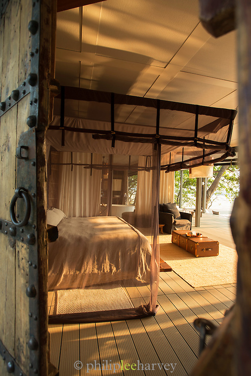 Guest room at Chinzombo Safari Lodge, Luangwa River Valley, Zambia, Africa